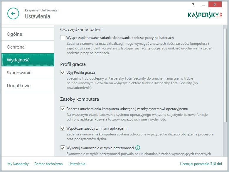 Kaspersky Total Security - ustawienia dotyczące wydajności