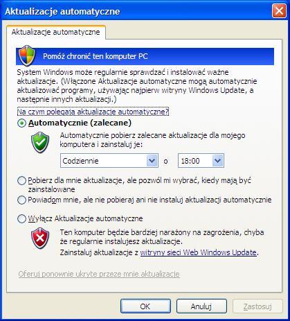 Włączanie automatycznych aktualizacji w systemie Windows XP
