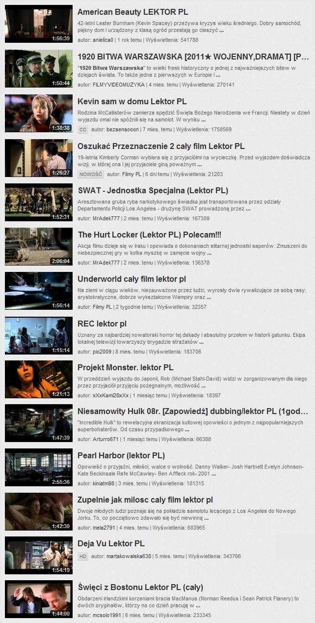 Pirackie filmy w serwisie YouTube
