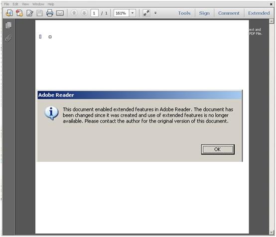 Komunikat o błędzie po otwarciu zarażonego pliku PDF