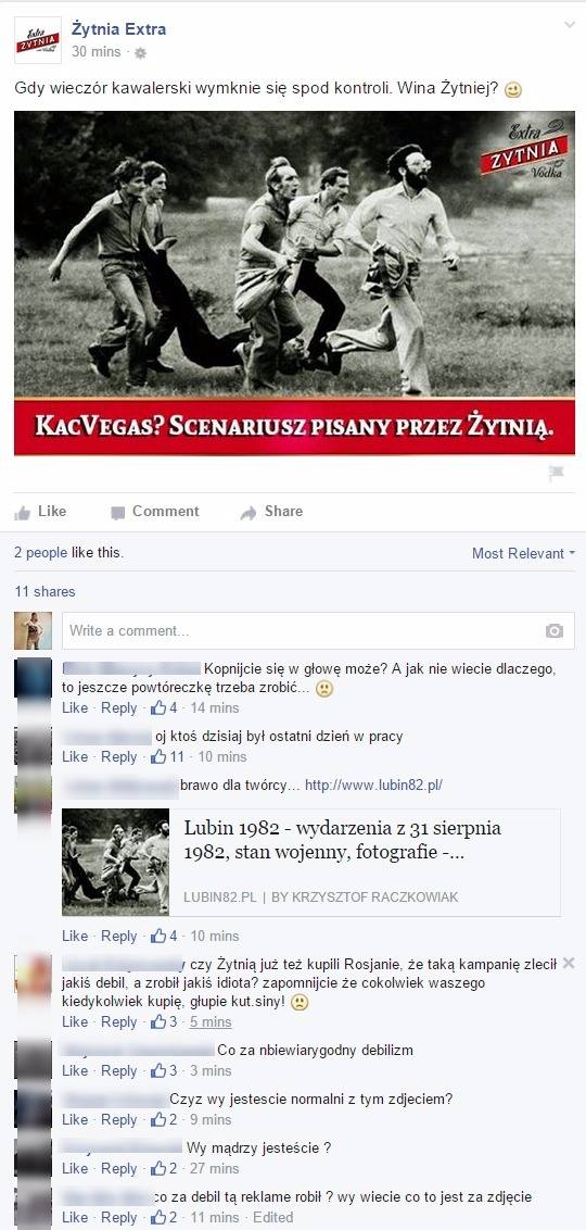 Żytnia Ekstra - wpis na Faceboku