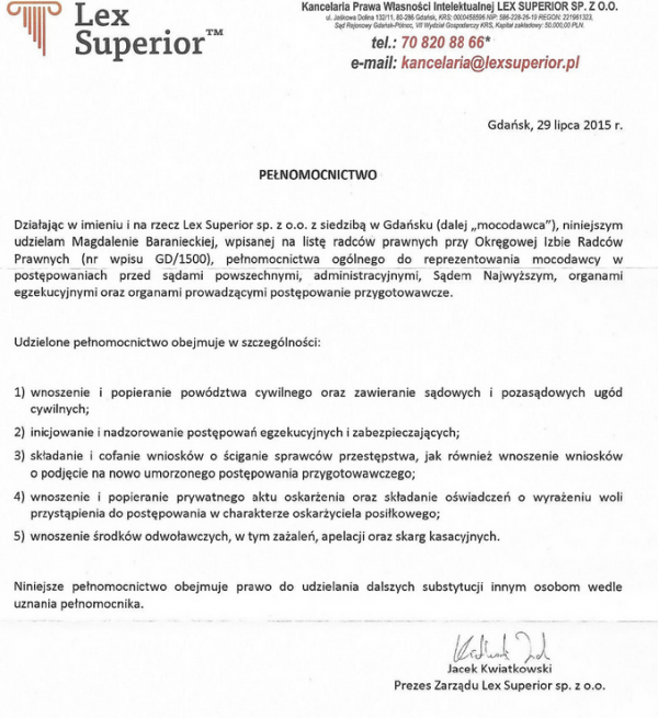 Lex Superior - pełnomocnictwo