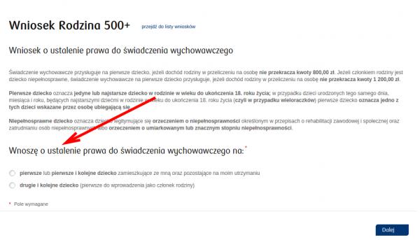 Wniosek 500 Plus - PKO BP