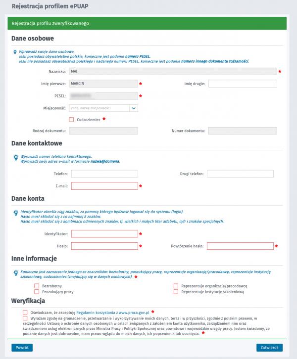 Formularz rejestracji ePUAP