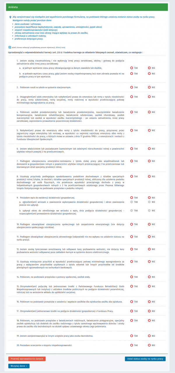 Praca.gov.pl - ustalanie statusu