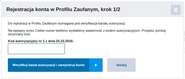 Profil Zaufany - rejestracja - krok 3