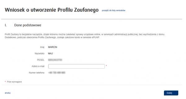Profil Zaufany - bank - krok 3