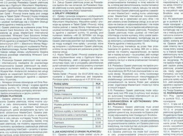Regulamin opasek