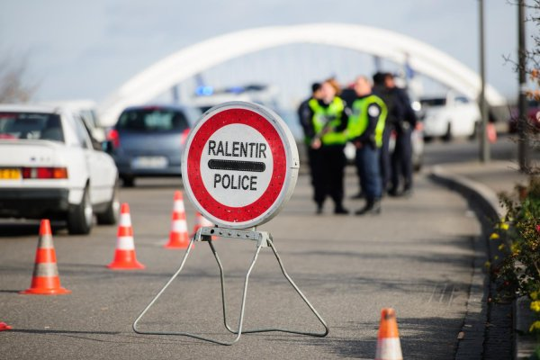 Francja - blokada na drodze
