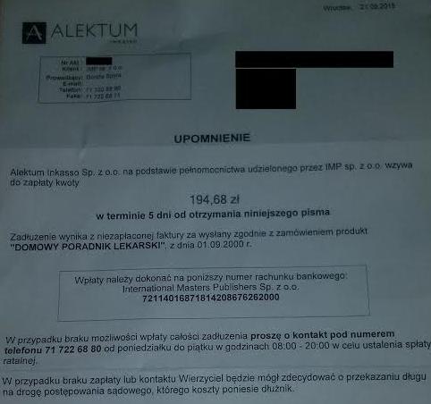 Alektum - wezwanie do zapłaty