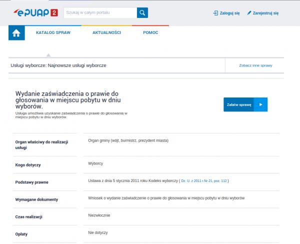 Wniosek o wydanie zaświadczenia - ePUAP